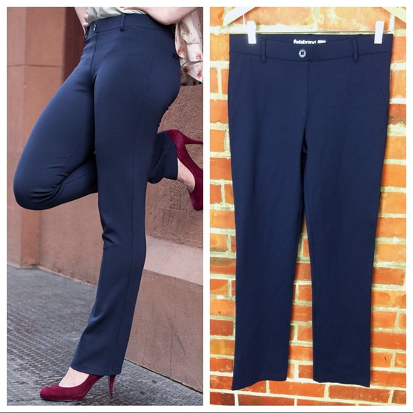4ca0e513ea235 betabrand Pants - Betabrand Yoga Pants Dress Pant Navy Straight Leg